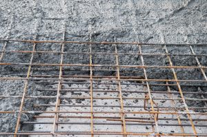 construction operation of filling metal lattice with concrete